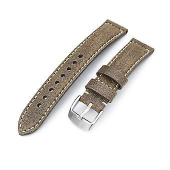 Strapcode kalv lær ur stropp miltat 20mm ekte olivenbrun distressed skinn ur stropp ekstra myk, beige søm