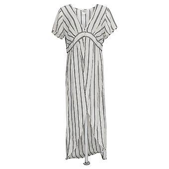 K Jordan Women's Top Tunic Style Striped Blouse White/Black