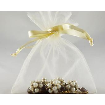 12 Small Cream Organza Favour Gift Bags - 10cm x 12.5cm