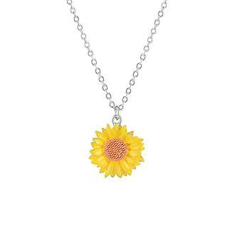 Eternal Collection Maximilian Sunflower Yellow Enamel Flower Pendant