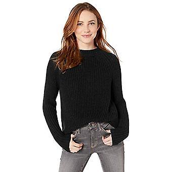 Merkki - Goodthreads Women's Puuvilla Half-Cardigan Stitch Mock Neck Sweater, Musta , XX-Large