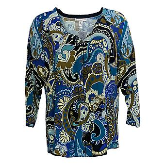 Isaac Mizrahi Live! Women's Sweater Printed Curved Cardigan Blue A293926