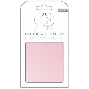 Craft Consortium Pearl Baby Pink Decoupage Papers