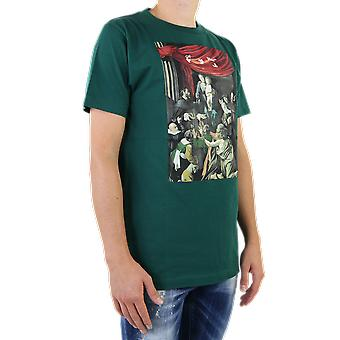 OFF BIANCO Caravag Pittura S/S Slim Tee Verde OMAA027E20JER0085710 Top