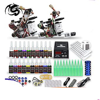 Beginner Tattoo Kit Supplies Equipment Set Coils Machine Guns With Color Ink Needle Power Tip Grip