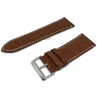 Crocodile grain calf leather watch strap tan padded and stitched chrome buckle sizes 18mm to 26mm