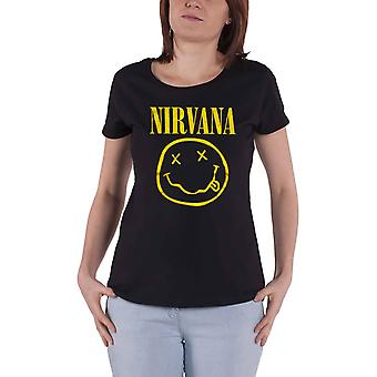 Nirvana T Shirt Yellow Smiley Band Logo new Official Womens Skinny Fit Black