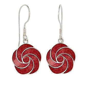 ADEN 925 Sterling Silver Coral Flower Earrings (id 2523)