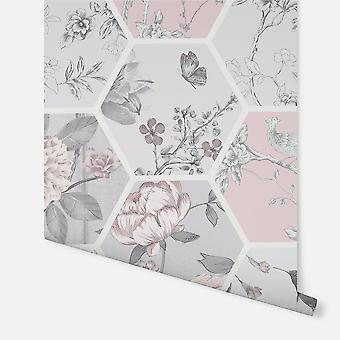 908904 - Chinoise Decoupage Pink - Arthouse Wallpaper