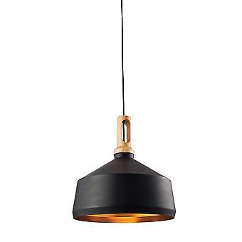 1 Light Dome Ceiling Pendant Matt Black, Light Effect Wood, E27