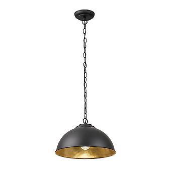 1 Pendentif light dome plafond Matt Noir, Feuille d'or, E27