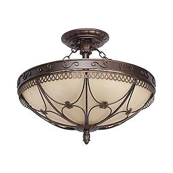 Country Brown Ceiling Light 5 Bulbs 37 Cm