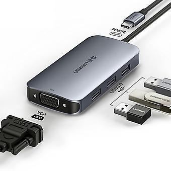 4in1 Usb-c To Usb 3.0 Hub, Usb Type-c To Vga Adapter Pd Charge For Hp Envy Specter Macbook, Samsung S9 S8 Note8