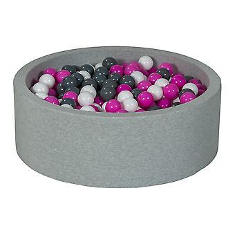 Hoyo de bolas 90 cm con 450 bolas blancas, púrpura y gris