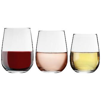 18 Piece Corto Stemless Wine Glasses Set - Modern Style Glass Tumblers for Red, White Wine, Water