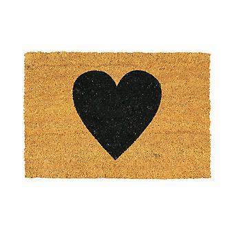 Nicola Spring Nicola Spring Non-Slip Door Mat - Natural Coir Indoor Outdoor Welcome Mats - 60 x 40cm - Black Heart