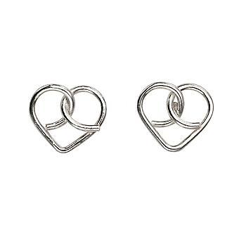 Begyndelser sterling sølv A984 wire hjerte stud øreringe