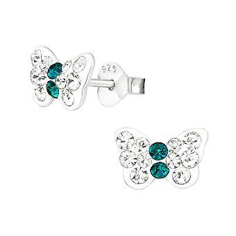 Butterfly - 925 Sterling Silver Crystal Ear Studs - W20577x
