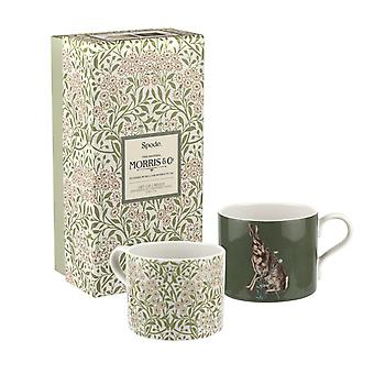 Spode Morris & Co. Forest Hare and Michaelmas Daisy Set of 2 Mugs