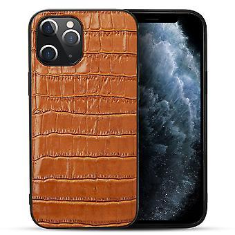 עבור iPhone 12 ממקרה מיני עור אמיתי תנין מרקם כיסוי חום