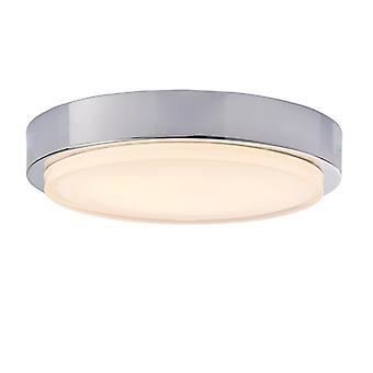Badrum Integrerad LED A Lighta 1 Light Flush Chrome Effektplatta med clear & vitmålat glas A Light IP44