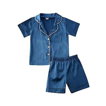 Toddler Baby Silk Satin Top / Pant / Pajamas, Long Sleeve Solid Button Down