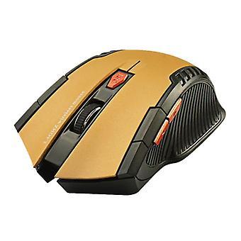 Material Certificado® Wireless Gaming Mouse Optical - Ambidextrous e Ergonomic com Ajuste DPI - 1600 DPI - 6 Botões - Ouro