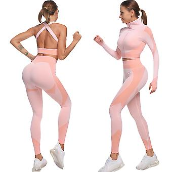 Women Long Sleeve Shirts High Waist Running Leggings Sports Gym 3 in 1 Set