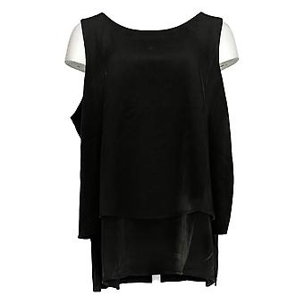 DG2 por Diane Gilman Women's Plus Top Mixed-Media Easy Tank Black 520-772