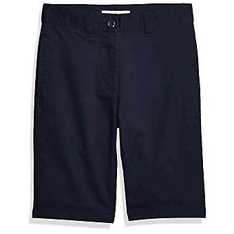 Essentials Kids Boys gewebt Flat-Front Khaki Shorts, Navy Blue, 8 schlank