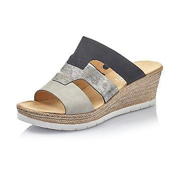 Rieker 619p7-40 Dollaro komfortabel mode kile sandaler i grå Kombi