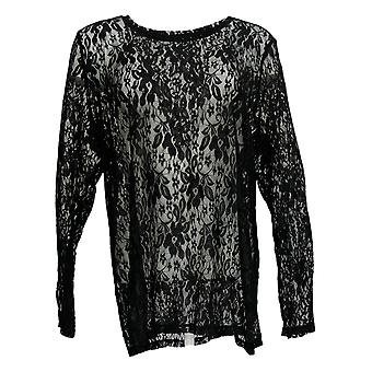 LOGO Layers By Lori Goldstein Women-apos;s Top Long-Sleeve Lace Black A376642