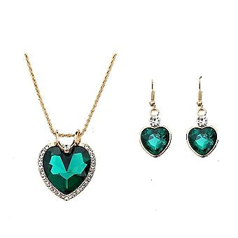 Jewelry Luxury Gold-color Romantic Crystal Heart Chain Necklace Earrings