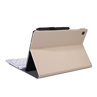 A610 For Galaxy Tab S6 Lite 10.4 P610 / P615 (2020) Bluetooth Keyboard Protective Case with Stand & Elastic Pen Band(Gold)