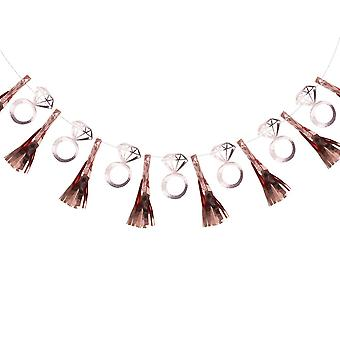 Rose Gold Hen Party Tassel Garland With Ring Flags Team Bride 2m