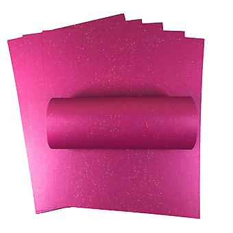 10 Sheets A4 Brilliant Rose Pink Iridescent Sparkle Card Quality 300gsm