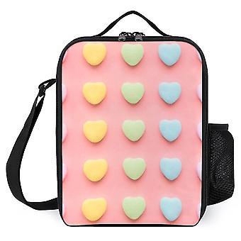 Candy Hearts Ritratto Borse da pranzo stampate