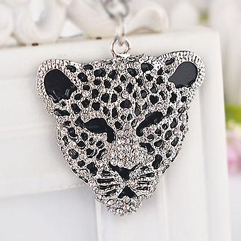 Anello chiave testa jaguar leopardo di cristallo di moda