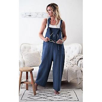 Women Casual Solid Strappy Dungarees Vintage Cotton Linen Loose Rompers Casual