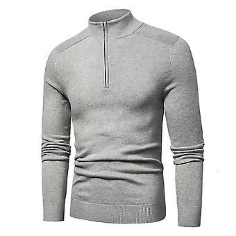 Men Spring Casual Cotton Turtleneck Sweaters, Pullover Autumn Knitted Zip