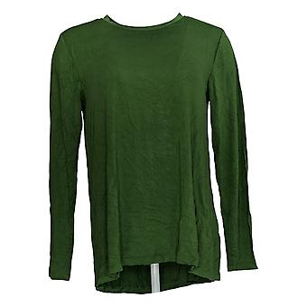 H By Halston Women's Top Long Sleeve Crew Neck Green A294968
