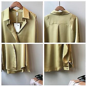 Spring Women Long Sleeves Satin Blouse, Vintage Femme V Neck Street Shirts Silk