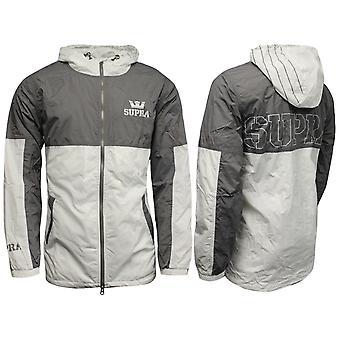 Supra Mens Dash Jacket Zip Up Hooded Wind Breaker Coat Grey White 103442015 Y35A