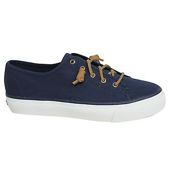Sperry Sky Sail Lace Up Womens Navy Canvas Plimsolls Trainers STS99186 U78