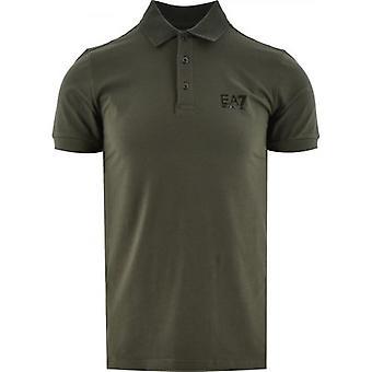 EA7 Zielona koszulka polo z krótkim rękawem