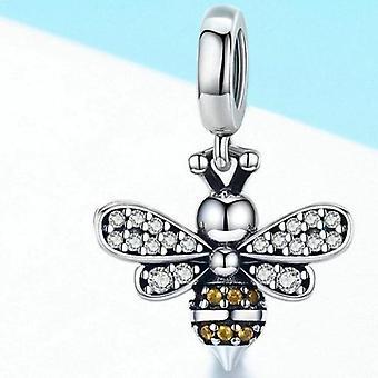 925 Sterling Hopea äijä kristalli charmi rannekorut