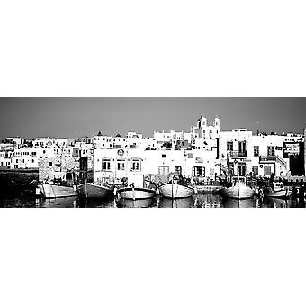 Veneet on waterfront Paros Kykladien saarten Kreikka Juliste Tulosta