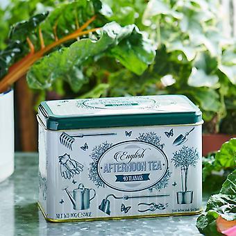 Lata de chá de jardim inglês com 40 sacos de chá da tarde