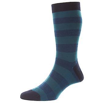 Pantherella Bexley Birdseye Stripe Merino Wool Socks - Marinha