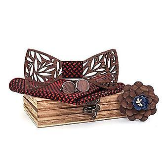Paisley Wooden Bow Tie Handkerchief Set